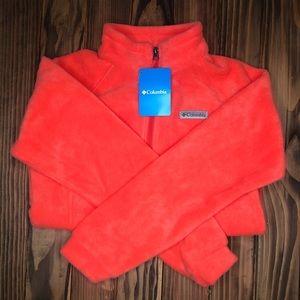 Columbia Orange Fleece Girls Jacket Bright Poppy